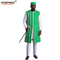 African Clothing for Men 4 Piece Set Outfits Dashiki Ankara Coats Shirts Pants Tribal Hat for Wedding Evening AFRIPRIDE A2016004