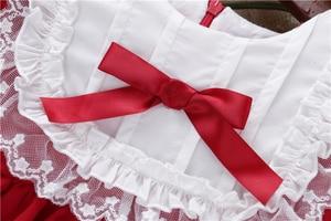 Image 4 - 아기 소녀 빨간 드레스 긴 소매 레이스 빈티지 레트로 아이 드레스 여자 옷 크리스마스 공주 아이들 옷 가을