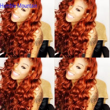 Ginger Orange 360 Wig Human Hair Brazilian Nature Dream Curl Lace Front Human Hair Wigs PrePlucked Colored Human Hair Wigs(China)