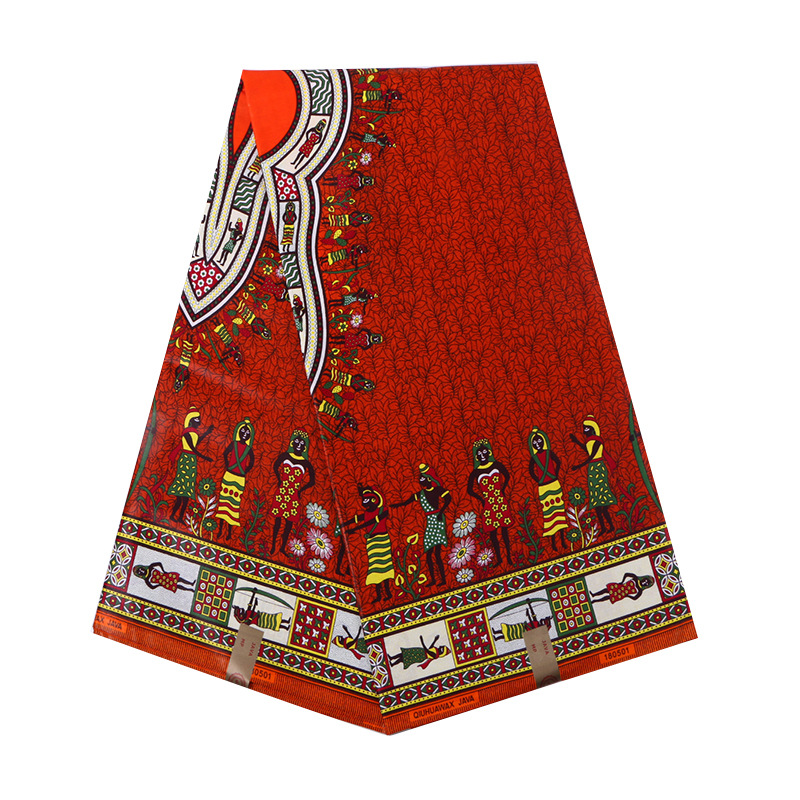 100% Cotton Red African Traditional Print Veritable Ankara Real Dutch Wax Pagnes African Wax 6Yards