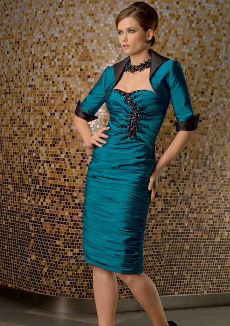 Knee Length Mother Of The Bride Dresses Sheath Taffeta Beaded With Jacket Plus Size Short Groom Mother Dresses For Wedding