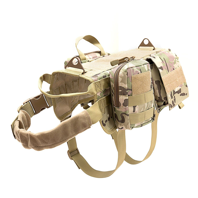 HANWILD mejorado caza K9 entrenamiento de perro MOLLE chaleco servicio de arnés perro Chaleco con mango de tracción chalecos para mascotas con 3 bolsas 4 tamaños Chaleco táctico de gran raza para perros, equipo táctico para fanáticos del ejército, ropa para perros, correas de pecho K9