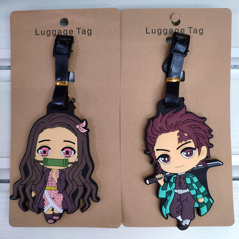 Demon Slayer Luggage Tag Silica Gel Travel Accessories Portable Label Suitcase ID Address Holder Baggage Board Portable Label