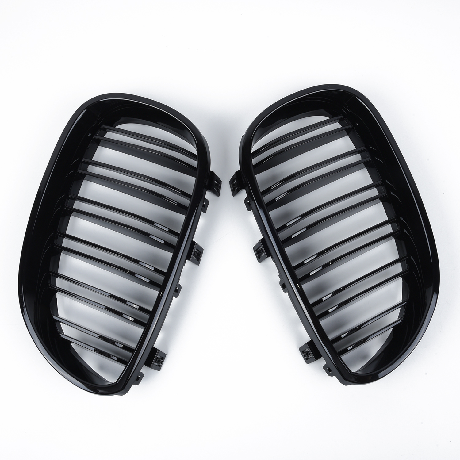 2pcs car Front Kidney Grill Double Slat Double Line Grille for <font><b>BMW</b></font> <font><b>5</b></font> <font><b>Series</b></font> <font><b>E60</b></font> E61 2003-2009 Front Kidney Grille Gloss Black image