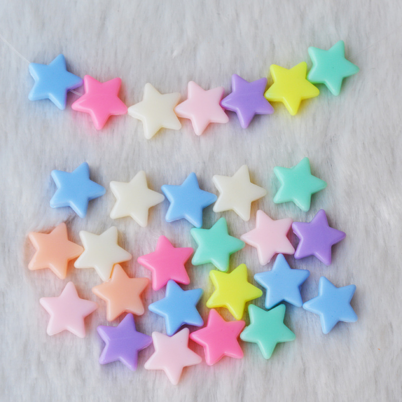 Manufacturers Direct Selling DIY Children Beaded Bracelet Material Lucky Color Five-pointed Star Loose Beads Spring Modeling Bea