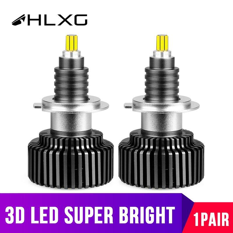 Mini diodos lámpara de coches h7 led 360 grado H1 LED H8 H11 9005 HB3 HB4 9012 HIR2 bombillas de faro delantero de coche 45W 18000LM 3D hlxg 12V 2PC
