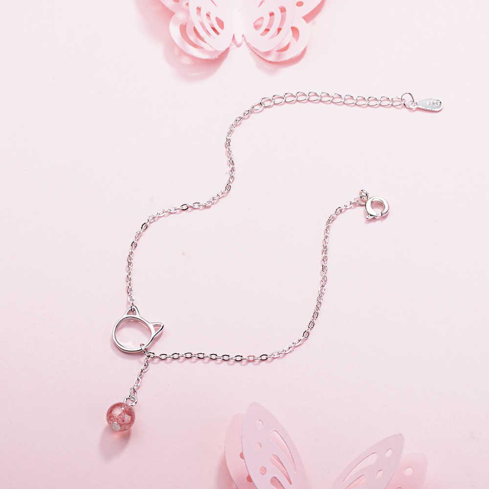 925 Sterling Silver Moonlight Stone Cat Charm Chain Bracelets Wholesale Women Jewelry Accessories Srebrna bransoletka