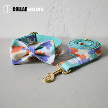 Nylon bow dog collar leash soft canvas bowknot for medium big dogs christmas decorations gift good quality pet straps