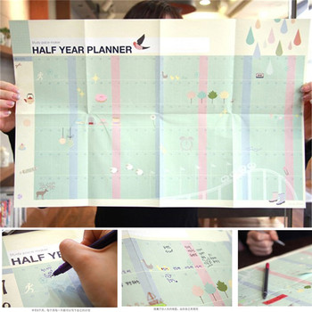 Hot Sale School Supplies Half Year Planner Calendar Study Pace Marker Learning Working Plan Table For Student's Gift Drop Ship image