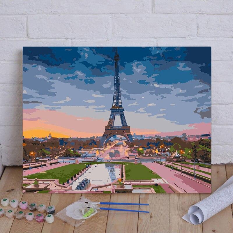 Картина по номерам городской пейзаж рисование на холсте Ручная