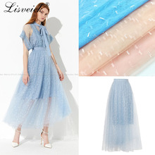 New 1yard embroidered rectangular dot mesh tulle lace fabric diy dress skirt gauze