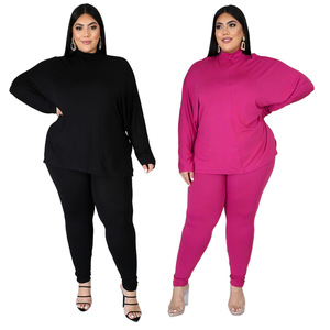 Plus Size Clothes L-5XL 2 Piece Set Women Turtleneck High Stretch Fitness Outfit Home Wear Matching Set Wholesale Dropshpping