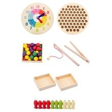 3 в 1 Детские игрушки деревянные игрушки клип бусины рыболовные игрушки игра многофункциональное обучение Ранние развивающие игрушки для детей подарок