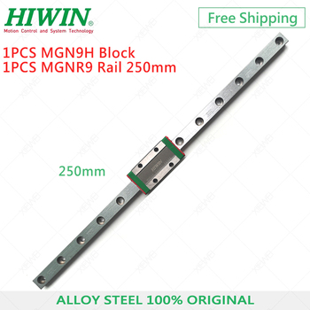 Free Shipping HIWIN MGN9 alloy Steel linear rail 9mm 250mm with MGN9H Long Carriage slide block for 3D Printer parts