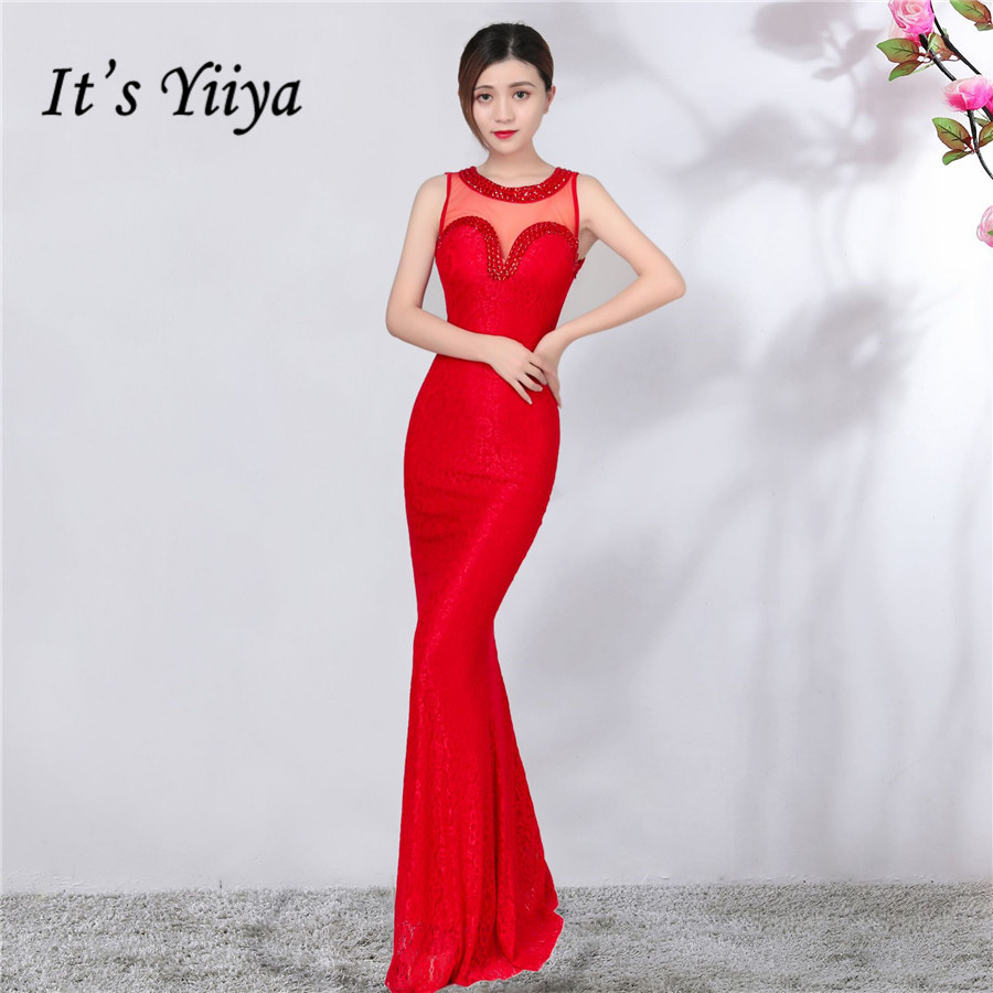 Formal Dress It's Yiiya DX355 Illusion Crystal Lace Women Party Dress Mermaid Plus Size Sleeveless Special Occasion Dresses