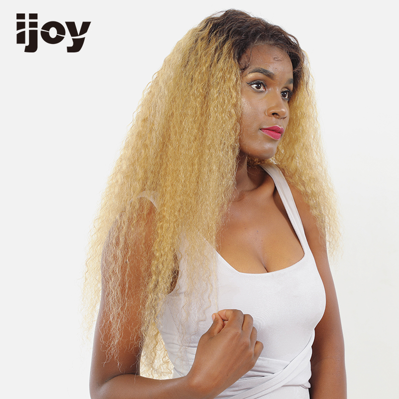 Afro Kinky Curly Wig Honey Blonde Afro Ombre Wig Lace Front Colored Human Hair Wig Two Tones 4x13 Brazilian 16-26″ Non-Remy IJOY