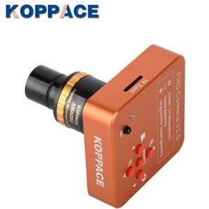 Koppce 21mp hdmi microscópio câmera 0.5x foco ajustável ocular eletrônico câmera industrial 23.2mm a 30mm e 30.5mm adaptador