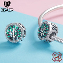 BISAER 925 Sterling Silver Enamel Beads Tree of Life Round Metal Charm for Original 925 Charm Bracelet Europe Jewelry HSC1095 tree of life 925 sterling silver tree of life family tree charms beads fit bisaer charm bracelet diy beads 925 silver jewelry