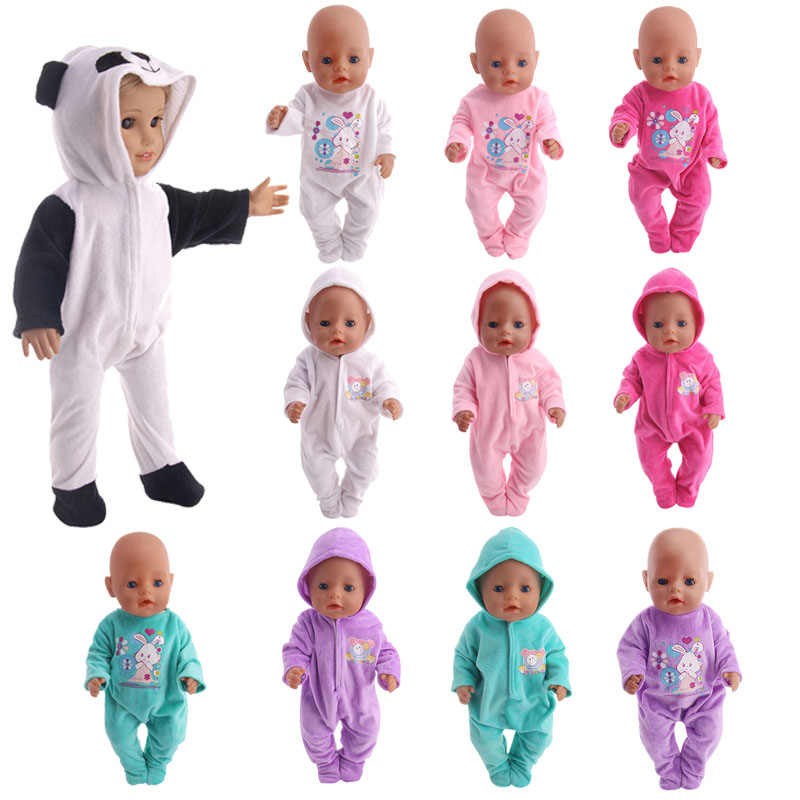 LUCKDOLL Cute Plush Pajamas Fit 18 Inch American 43cm Baby Doll Clothes Accessories,Girls Toys,Generation,Birthday Gift