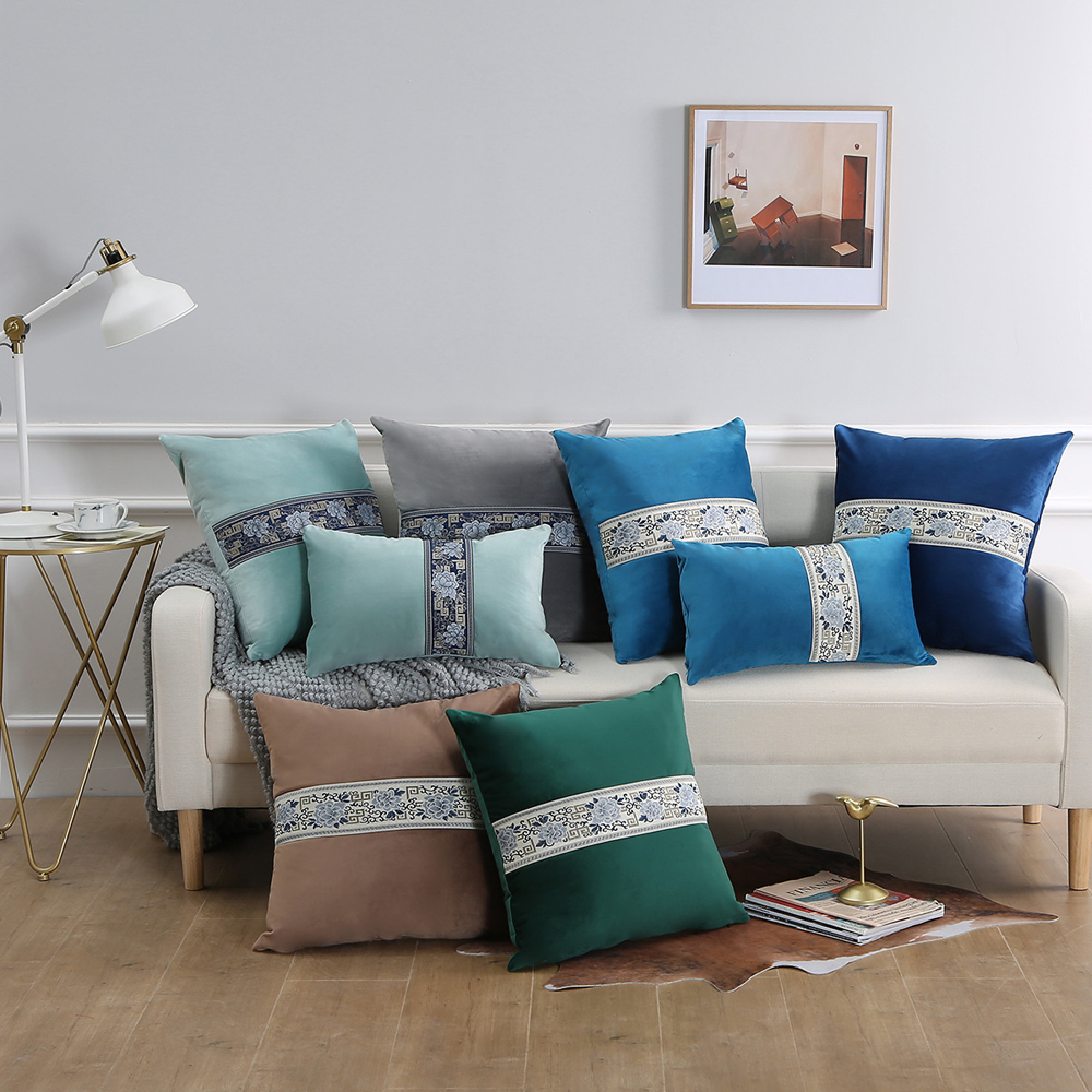 Embroidered velvet sofa cushion <font><b>cover</b></font> 30x50/40x40/45x45/40x60/<font><b>50x50cm</b></font> patchwork throw <font><b>pillow</b></font> case decorative home office hotel image