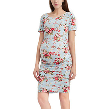 O-Neck Maternity Dresses Women Fashion Floral Printed Breastfeeding Dress For Pregnant Pregnancy Summer Clothes