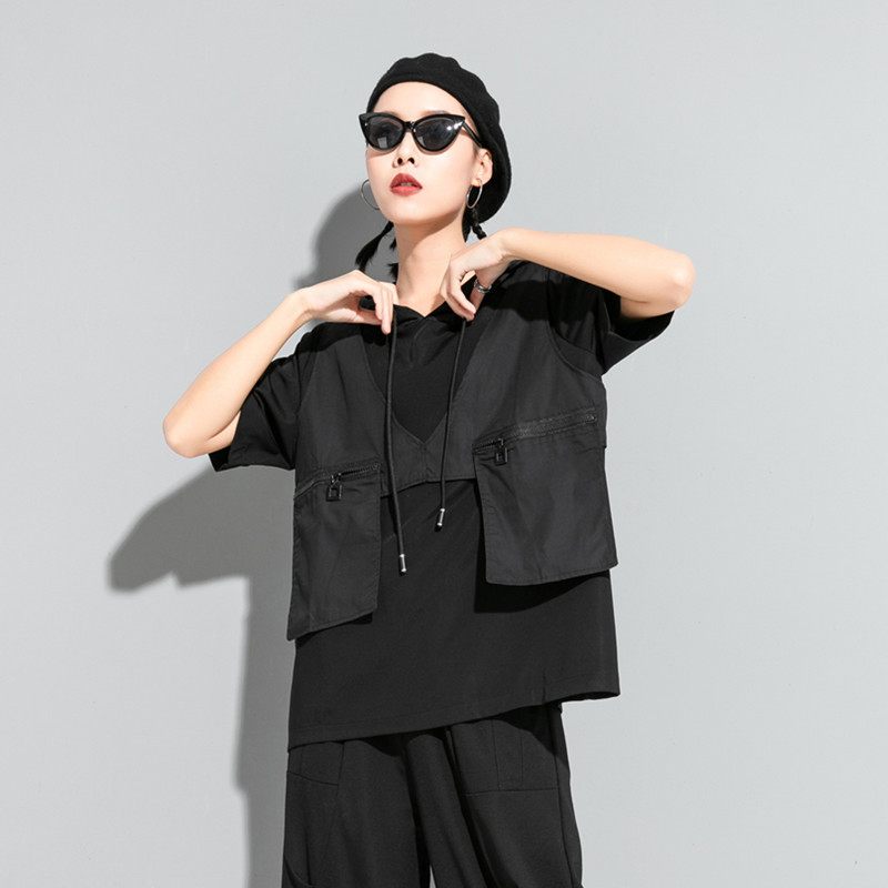 [EAM] Women Contrast Color Split Pocket Irrgular Big Size T-shirt New Hooded Short Sleeve  Fashion Tide Spring Summer 2020 1U512 3
