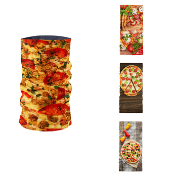 New 3D Printed Pizza Pattern Women Ring Scarf Summer Neck Gaiter Headdress Dustproof UV Protection Mask Magic Sports Bandana