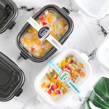 50pcs High quality white/black fruit salad boxes sqaure disposable lunch box baking packaging cake snack dessert cup with lid