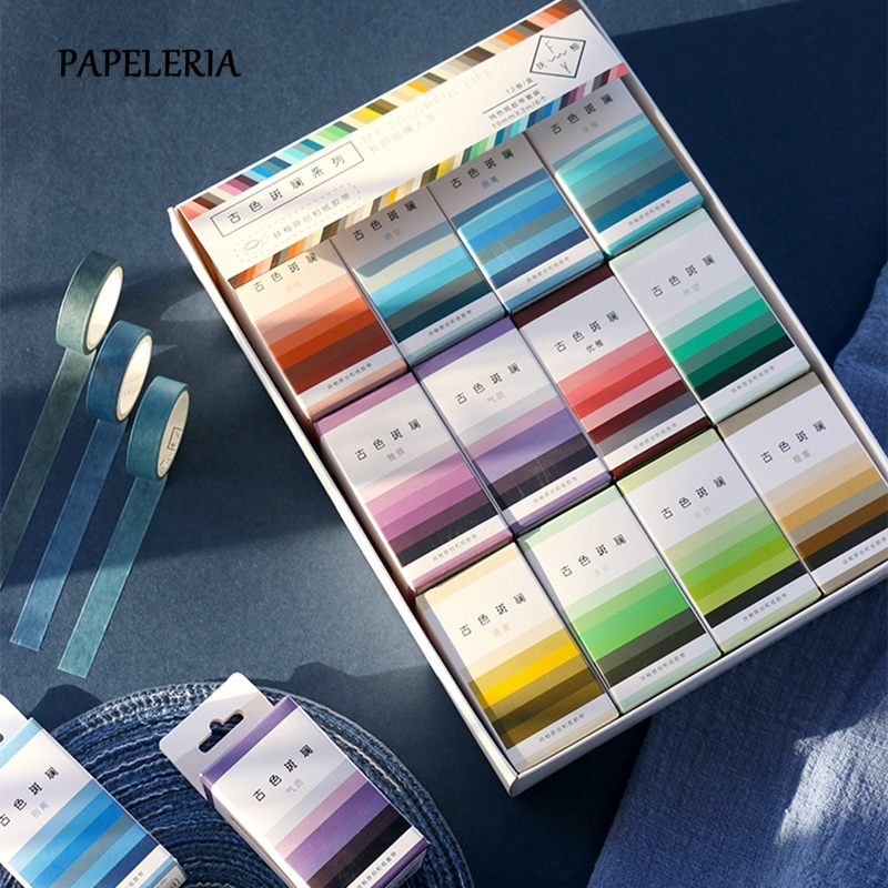 Solid Color Washi Tape Set Vintage Gorgeous Series Masking Tape Decorative Adhesive Tape Sticker Scrapbooking Diary Stationery