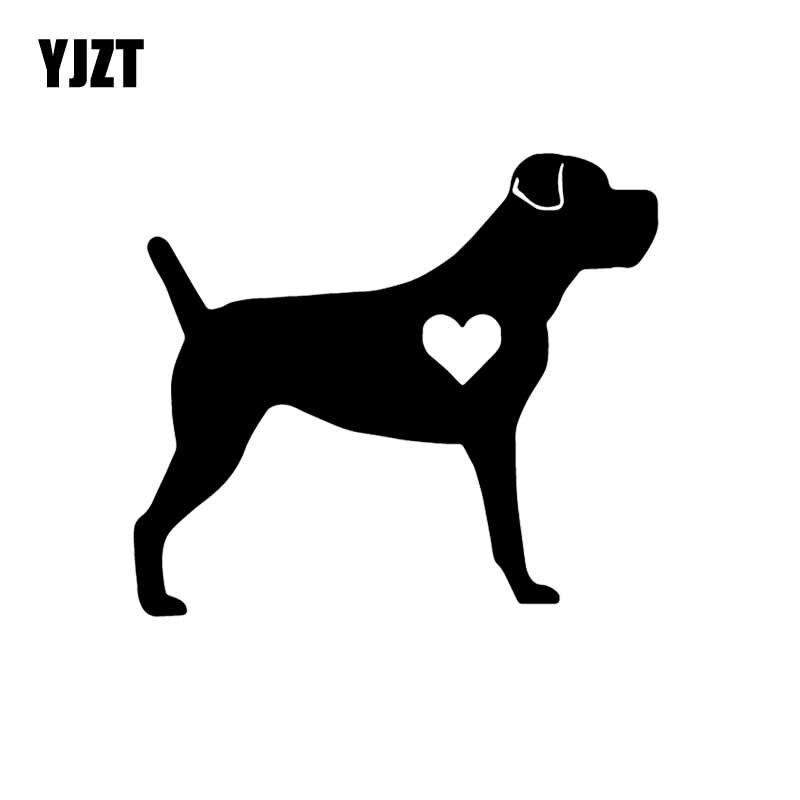 YJZT 14.2X12.6CM Car Sticker Vinyl Decal Decor Cane Corso Lil Heart Uncropped Dog Black/Silver C24-1157
