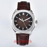 New 39mm sterile brown dial date indicator steel shell luminous sapphire glass luxury brand automatic movement men's watch