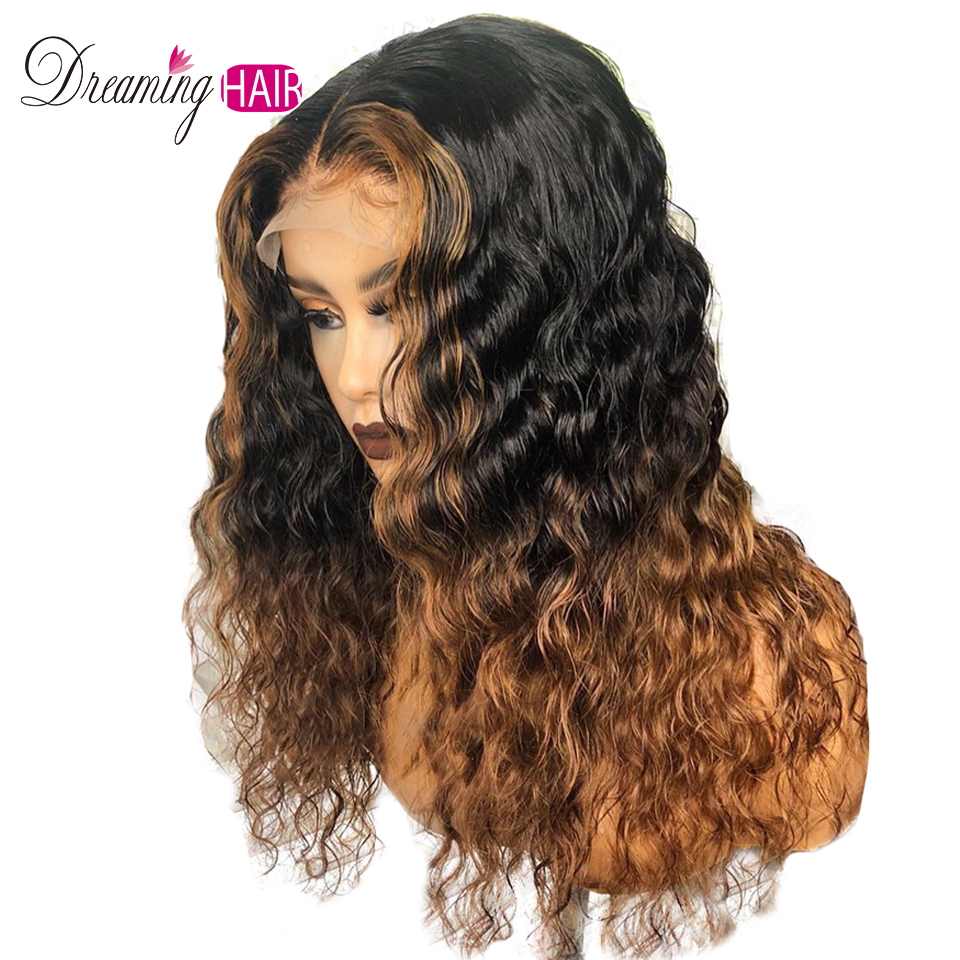 13X6 Brazilian Curly Lace Front Human Hair Wig Wavy Ombre Blonde Mixed Highlights Color Wigs For Black Woman Dreaming Hair