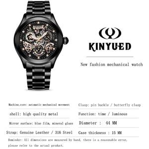 Image 5 - Super Mechanische Gefühl, Edgy Hohl Uhr Disc, KINYUED, die Neueste Mode Wasserdicht Luminous männer Automatische Mechanische Uhr