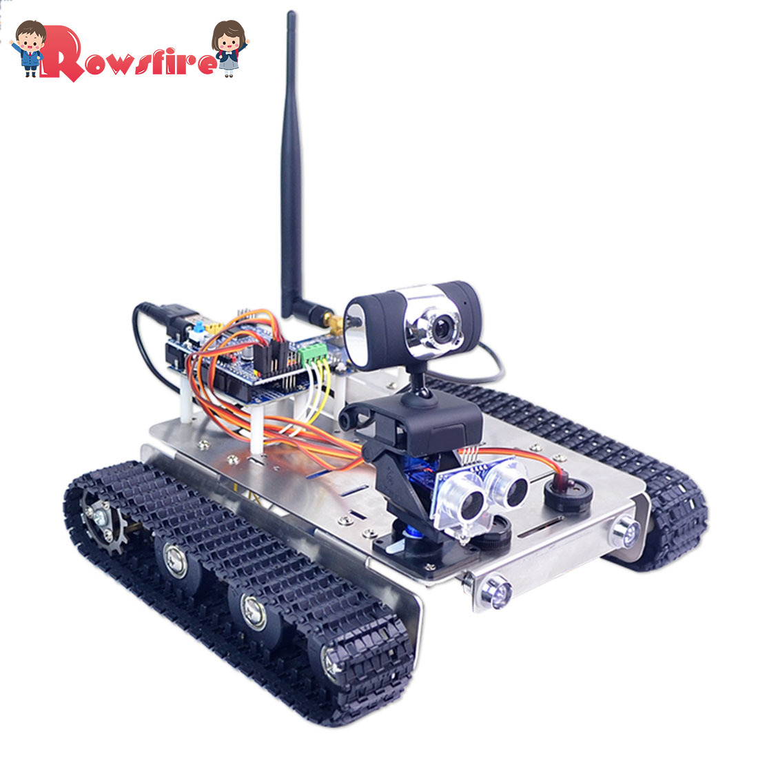 DIY Wifi Stainless Steel Chassis Track Tank Steam Educational Car With Graphic Programming XR BLOCK Linux Toy Games