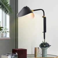 Современный настенный светильник E27 Черный регулируемый настенный светильник для лофт спальни прикроватной тумбы гостиной скандинавский ...