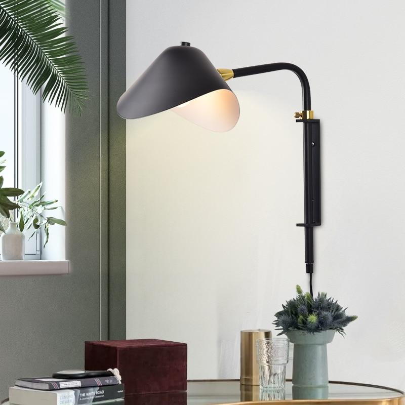 Modern Wall Lamp E27 Black Adjustable Wall Light For Loft Bedroom Bedside Living Room Nordic Wall Light Miroir Led Salle De Bain