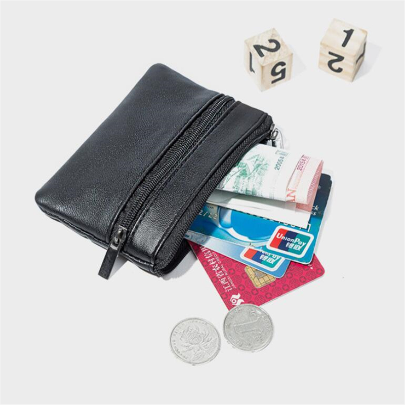 Men Women Card Coin Bags Key Soft Credit Card Holder Zip Leather Wallet Coin Pouch Bag Purse Carteira Mini Coin Bags Holders
