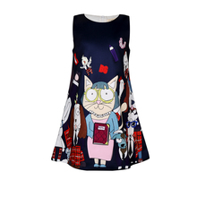 Filles robe de noël dessin animé imprimé robes pour filles père noël imprimé robe de noël vêtements Vestidos 9011