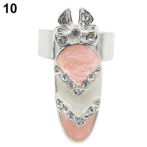 Moda damska uroda Rhinestone kwiat korona opuszka palca pierścień okładkowy paznokci