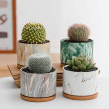 4 pçs/set Nórdico Colorido Vaso de Flor de Mármore com a Bandeja de Cerâmica Rodada Verde Suculentas Plantas Pot Home Office Desktop Decoração Mini