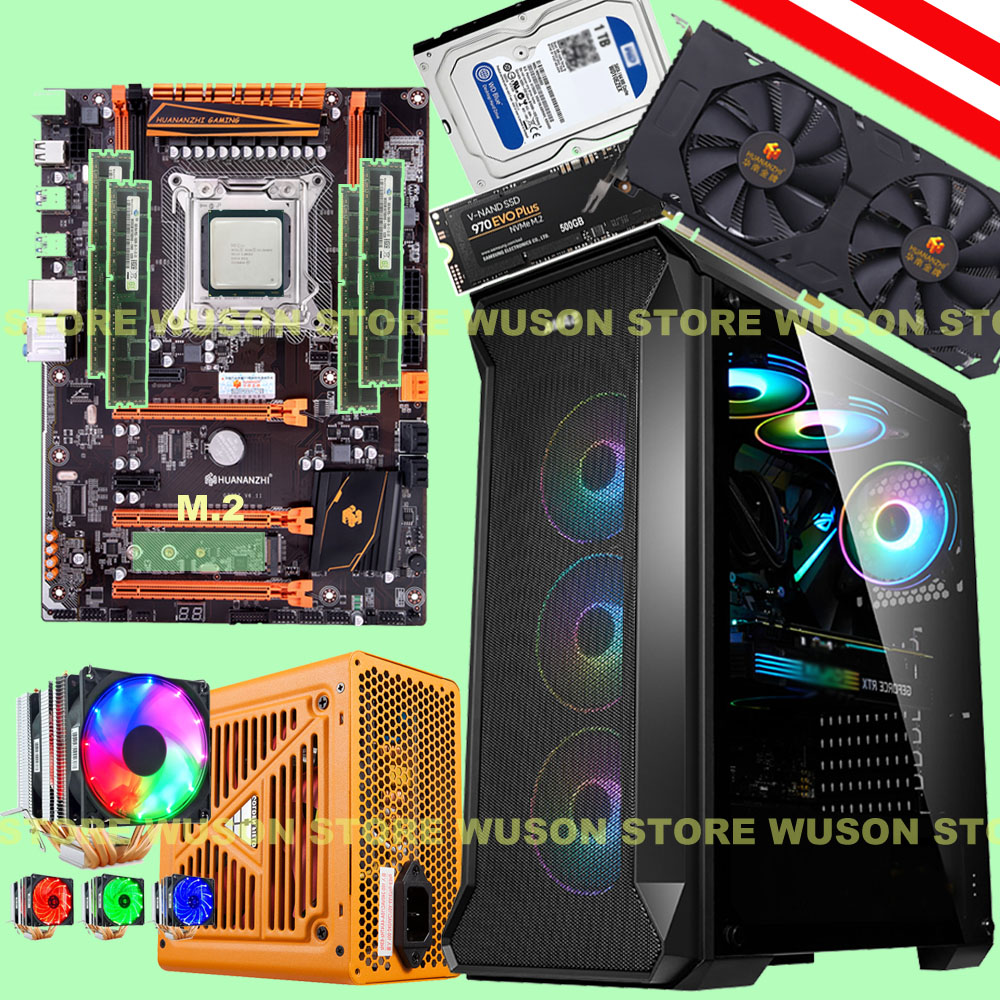 Computer DIY HUANANZHI X79 Deluxe Motherboard With M.2 500G SSD CPU Xeon E5 2690 V2 RAM 64G(4*16G) 500W PSU GTX1660TI Video Card