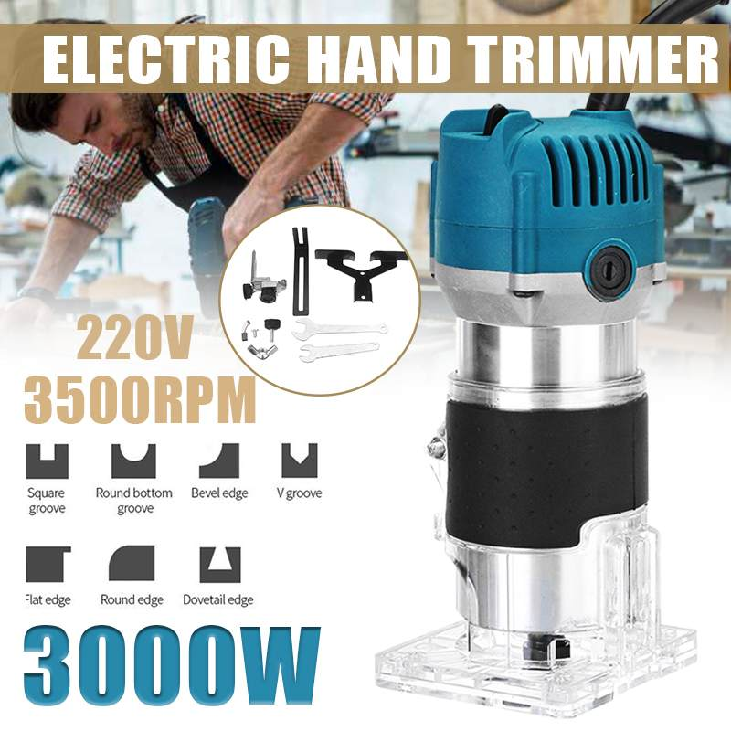 3000W Electric Hand Trimmer 6.35mm 220V EU Plug Wood Laminate Palms Router Joiners Router For Woodworking Power Tools Kit