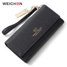 WEICHEN Wristlet Women Wallet Clutch Many Departments Card Holder Phone Pocket Long Purse Trifold Female Wallets Carteras New