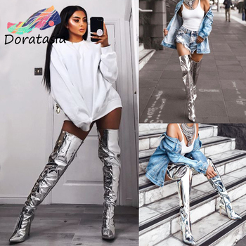 DORATASIA Plus Size 30-48 Luxury Brand Sexy Party Thigh High Boots Women Metallic Over Knee Boots Lady High Heel Shoes Woman