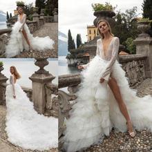 Женское платье с длинным рукавом, сексуальное ТРАПЕЦИЕВИДНОЕ свадебное платье с глубоким V образным вырезом и оборками, модель 2020 года
