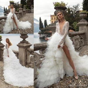 Image 1 - 2020 Sexy Deep V Neck Wedding Dresses Tiered Ruffles Tull Tain Bridal Gown A Line Long Sleeve Wedding Gowns