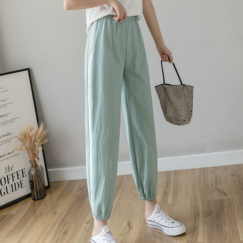 Women Cotton Pants Capris New Female Summer Loose Korean Casual Side Stripe Harem Pants Autumn Thin Pencil Ankle Length Trousers