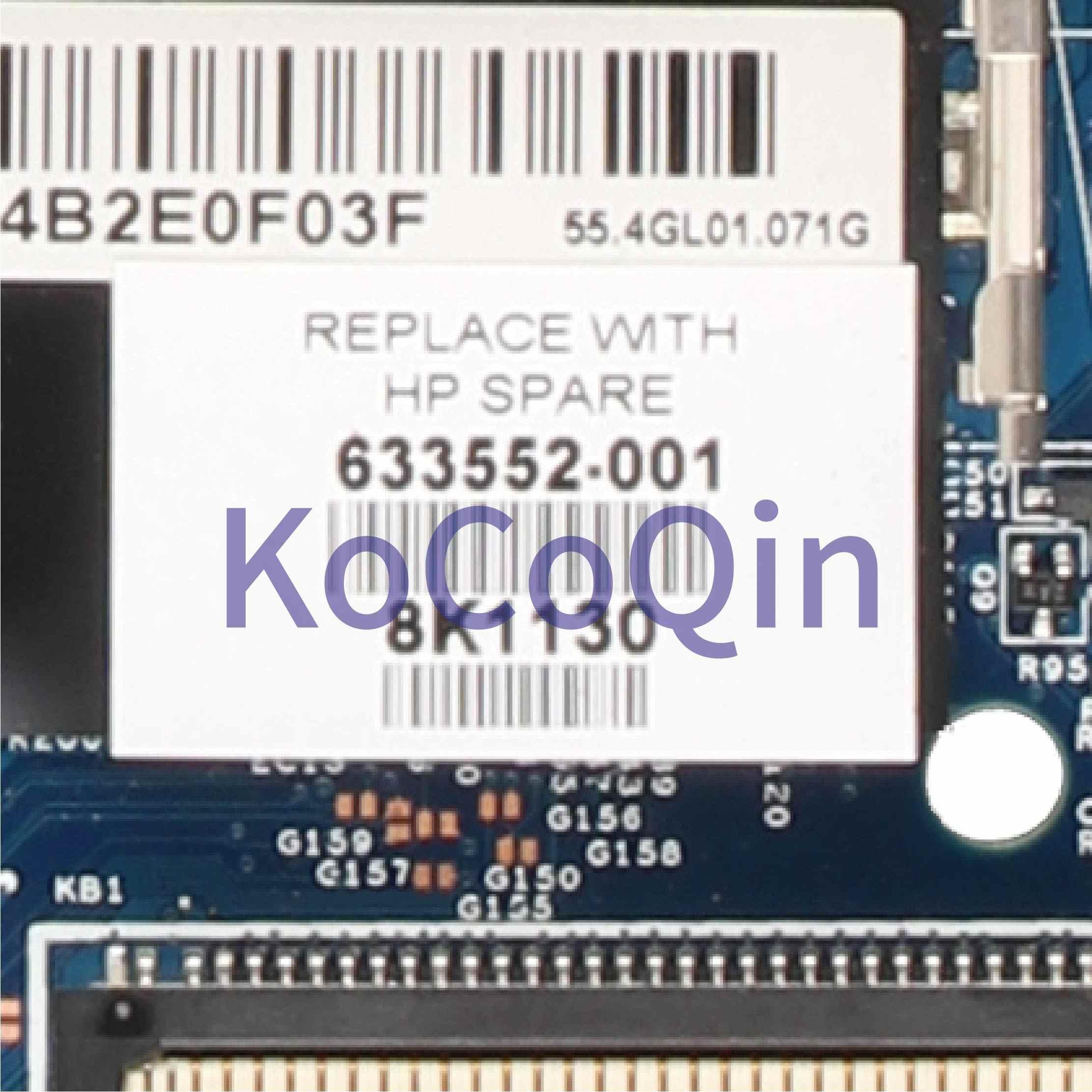KoCoQin เมนบอร์ดแล็ปท็อปสำหรับ HP ProBook 4520S 4720S HM57 Mainboard 633552-001 H9265-4 48.4GK06.041 2216-0774207 DDR3