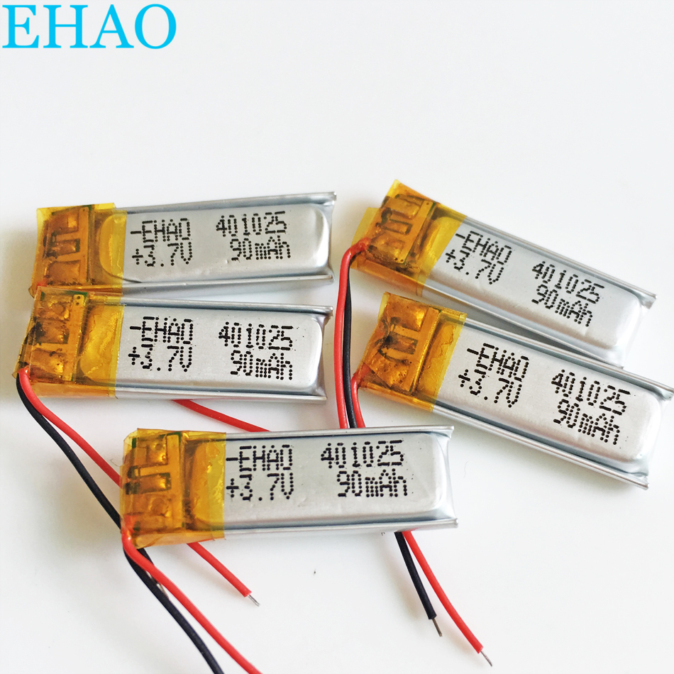 Lot 5 pcs <font><b>401025</b></font> 3.7V 90mAh LiPo Lithium Polymer Rechargeable Battery For Mp3 headphone recorder DVD bluetooth headset video image