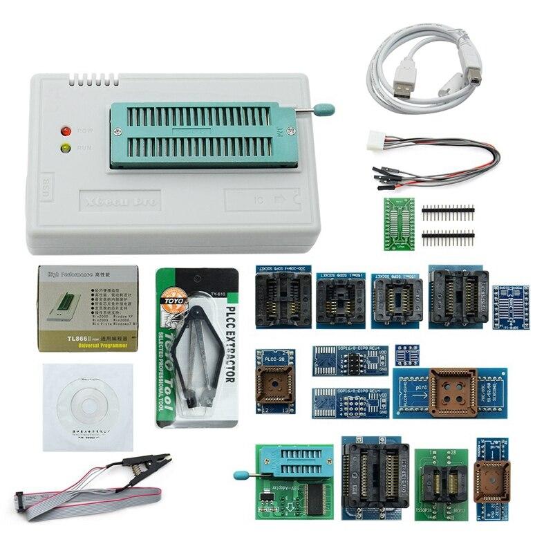 Newest V8.33 Tl866Ii Plus Universal Minipro Programmer Tl866 Nand Flash Avr Pic Bios Usb Programmer+17 Pcs Adapter